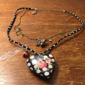 Betsey Johnson floral heart double strand necklace
